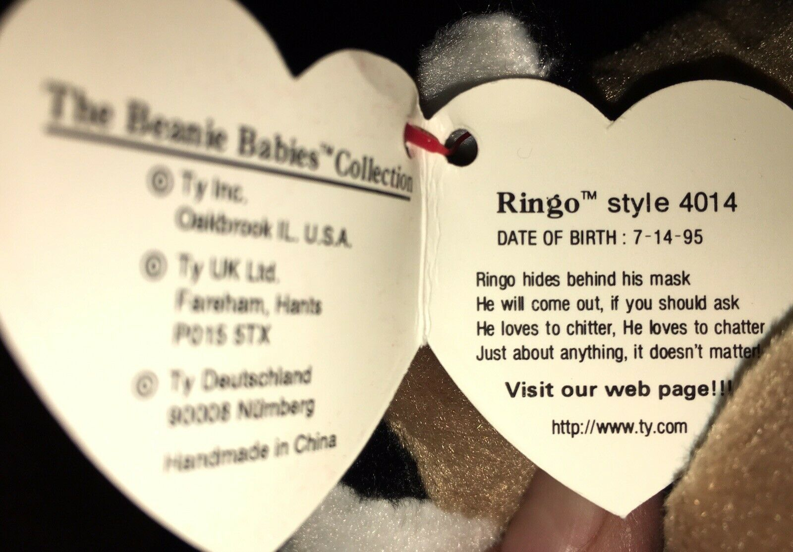 Ty Beanie Baby Ringo Ringo Ringo 1995 With Error Tags NM MT a6d6dc