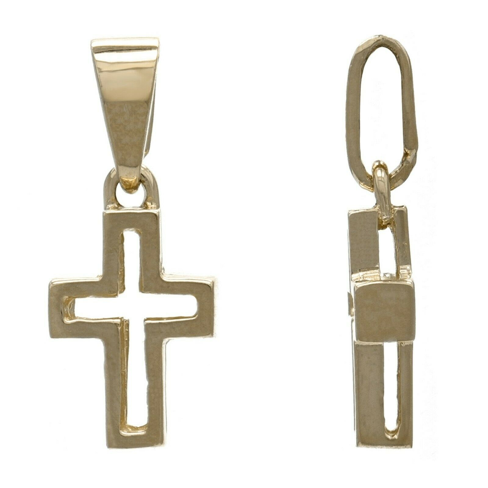 14k Yellow Gold Solid Small Cross Religious Charm Pendant 1.2 grams