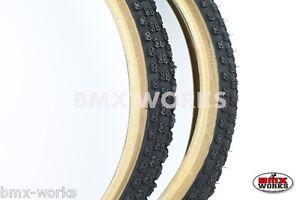 "20/"" X 1.75/"" Bike Tyres Black With Amberwall Suit Junior BMX 2 Pair"