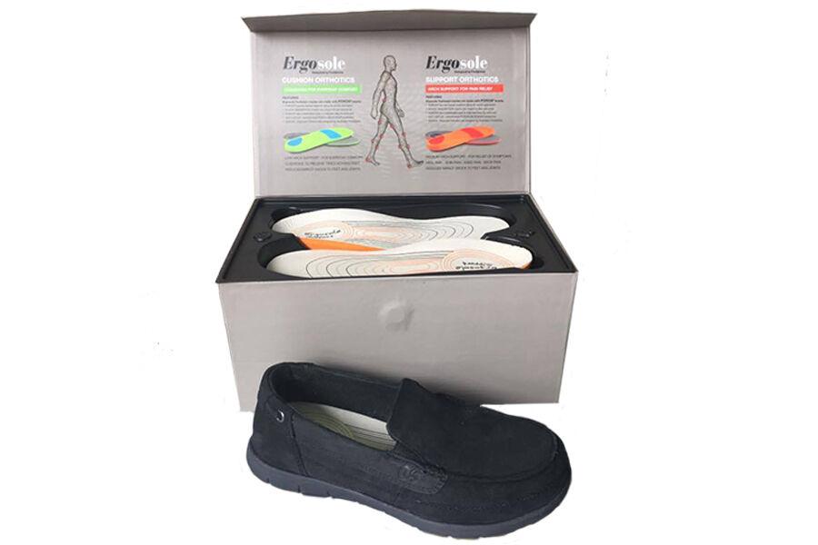 Ladies Shoes Ergosole Shea Black Leather Comfort Walking Work C+/D Fit US6-11