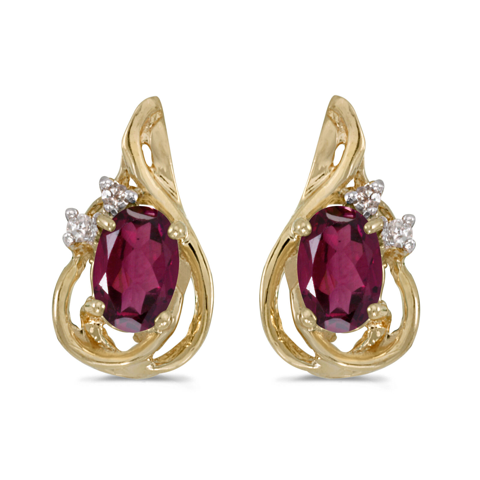 14k Yellow gold Oval Rhodolite Garnet And Diamond Teardrop Earrings