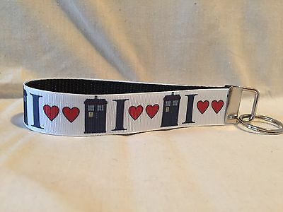 "I Love Doctor Who Inspired Key Fob Wristlet Key Chain 1"" Designer Ribbon Tardis"