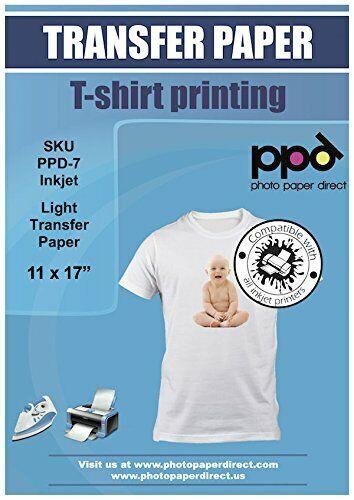 "PPD Inkjet Iron-On Light T Shirt Transfer Paper 11x17/"" Pack of 10 PPD007-10"
