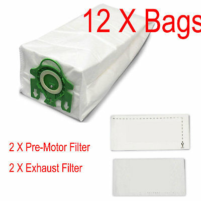 12 Bags /& 4 Filter For Miele U Green UPRIGHT Dynamic U1 Vacuum Cleaner 3D Type