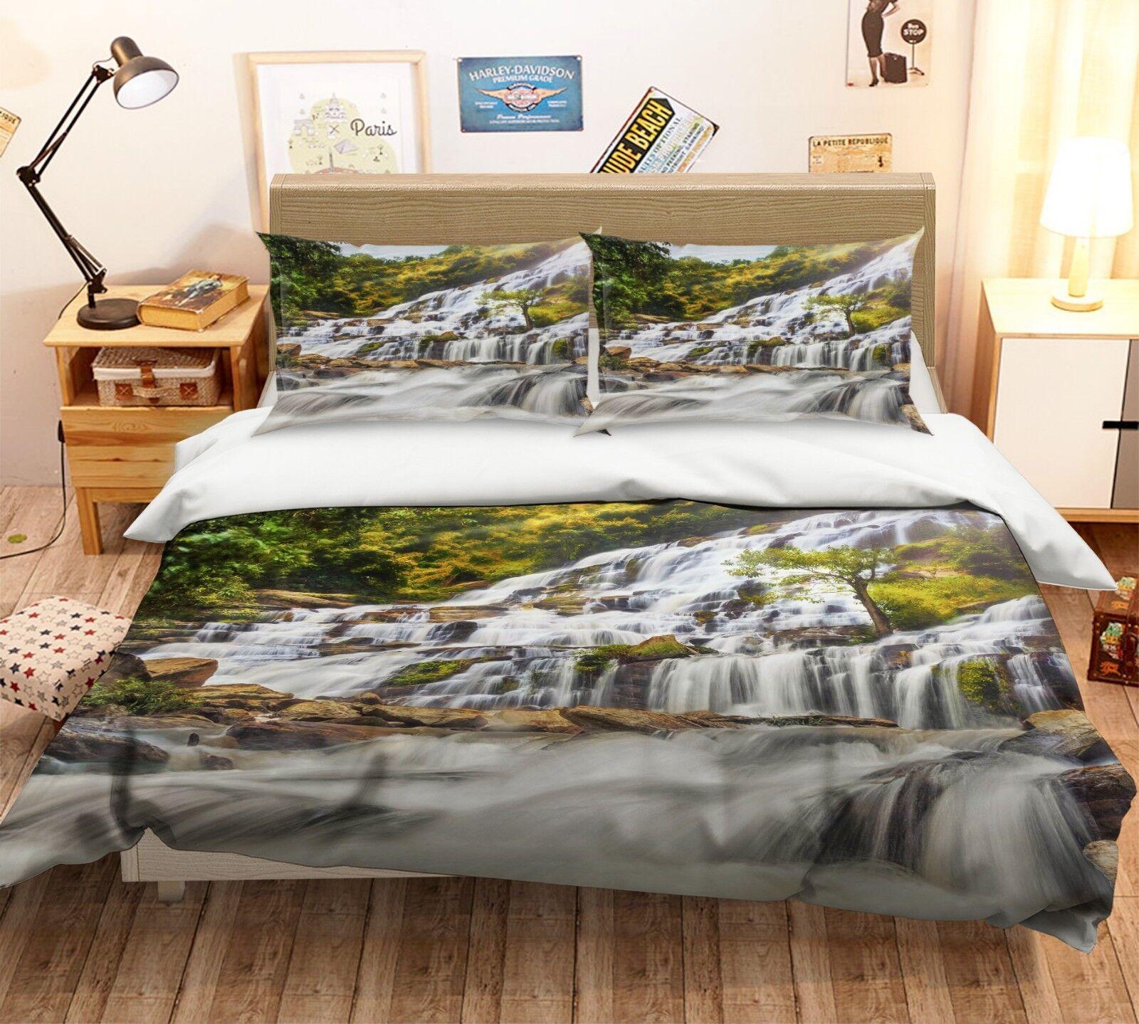 3d bianco cascata foresta 4 LETTO FEDERE steppe duvet set soffitto Single de