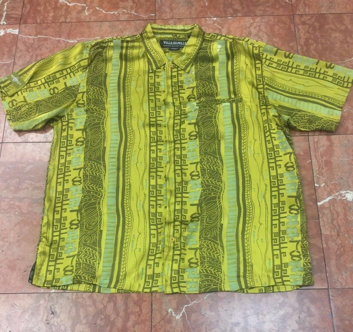 Men's Pelle Pelle Olive Short Sleeve Button Down Shirt