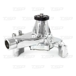 Small-Block-Chevy-Aluminum-Long-Water-Pump-350-400-Hi-Flow-CHROME-Reverse-Rotaio
