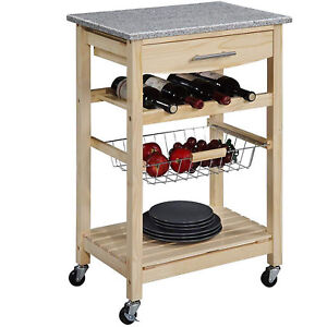 Details about Small Kitchen Island Table Cart Granite Top Rolling Drawer  Shelves Wine Rack New
