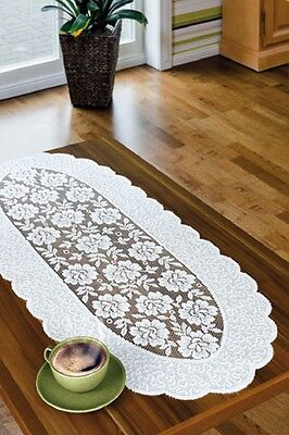 Oval, white, lace, table runner NEW (45 x 110cm) or (70x 140cm) Christmas gift