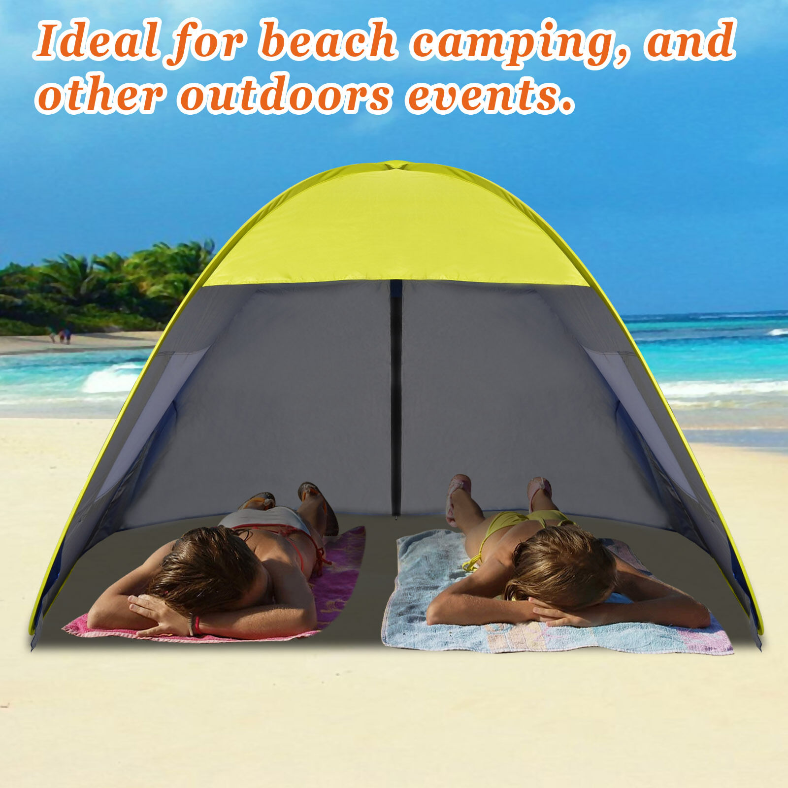 7.7' x 4.6' x 4.2' H Instant Pop Up Canopy Family Sports Beach Tent Sun Shelter
