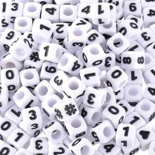 """Wholesale W09 White Mixed Number /& Symbol Cubic Beads 7x7mm 1//4/""""x1//4/"""""""