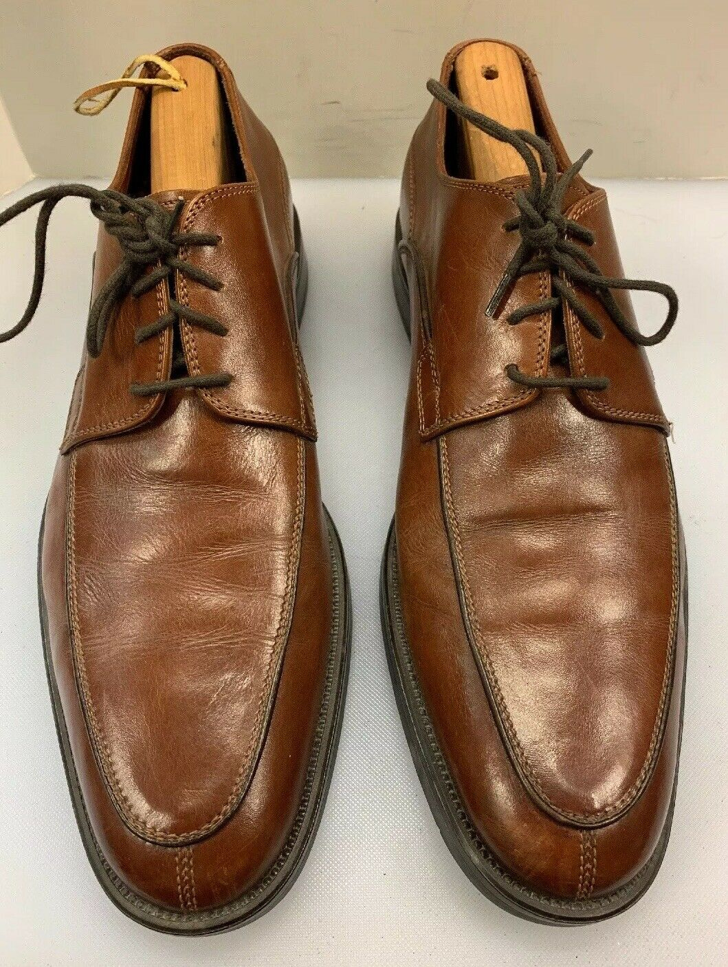 Johnston & Murphy Men 9 M Split Toe Oxfords Brown Leather  Made 20 9370