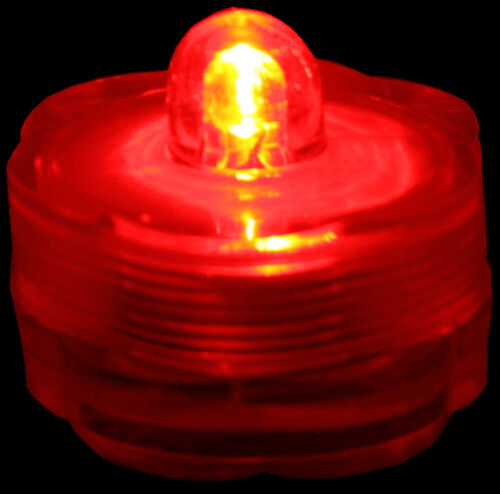 Submersible Waterproof Battery LED Tea Light ~ Wedding Decoration~Red~ 10 Pack