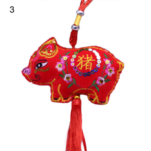 GT Ethnic Embroidery Pig Tassels Hanging Pendant Decor Chinese New Years Gift F