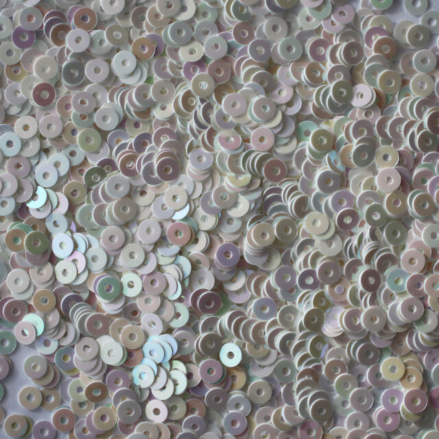 3mm Flat SEQUIN PAILLETTES ~ WHITE Opaque Shiny RAINBOW IRIS ~ Made in USA.