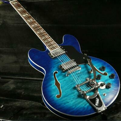 high quality semi hollow body es345c electric guitar bigsby bridge quilted maple ebay. Black Bedroom Furniture Sets. Home Design Ideas