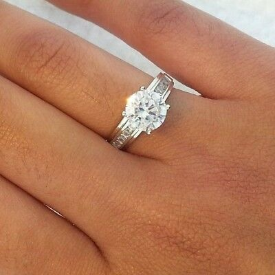 1.25 Ct Round Cut Real 14k White Gold Engagement Wedding Anniversary Band Ring