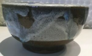 Vintage 70s Ceramic Stoneware Bowl Retro Art Pottery Mid Century Modern Signed