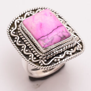 925-Sterling-Silver-Ring-Size-US-7-5-Pink-Sugilite-Handcrafted-Jewelry-CR2541