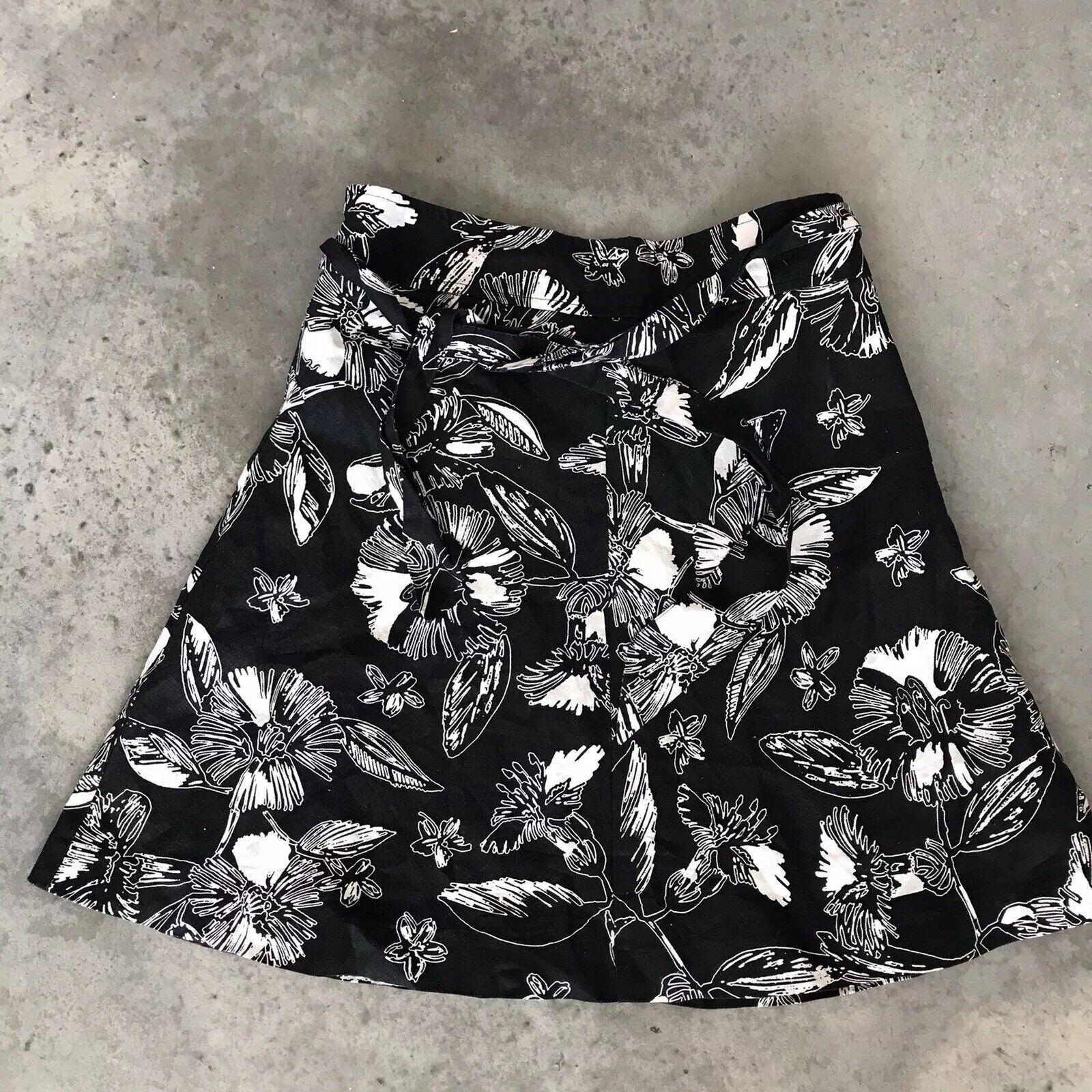 100% Leinen Blumen Schwarz Weiß A-Linie Knielang Merona Tie Taille Rock Größe 4
