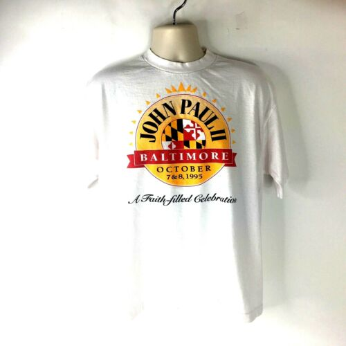 Vintage Pope John Paul II 1985 Baltimore T-Shirt … - image 1