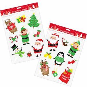 VETRO-FINESTRA-Glitter-Decorazioni-Adesivi-Decalcomanie-Natale-Natale-Babbo-Natale