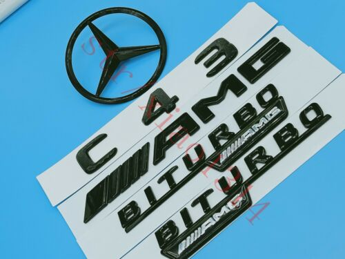 Gloss-Black-C43-AMG Trunk-Logo-Sticker-Decal-Emblem-Badge-Package-for-W205 C43