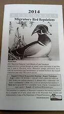 "WISCONSIN, 2014 MIGRATORY BIRD REGULATIONS, 32 PAGES, 6-1/4"" X 3-5/8"""