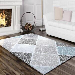 Designer-Teppich-Edel-Barock-Design-Floral-Muster-Meliert-Grau-Tuerkis