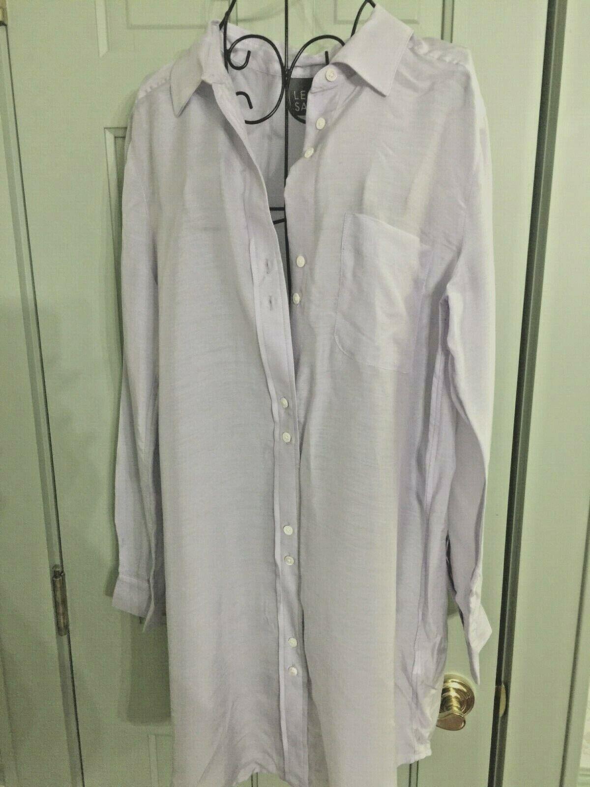 lila Lilac Shirt Top Blouse Tunic Shirtdress Button Down L NWT