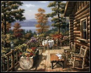 Log Cabin Porch - DIY Chart Counted Cross Stitch Patterns Needlework 14 ct Aida