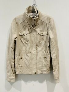 GUESS-Women-s-Faux-Leather-Cream-Line-Jacket-Size-Large-Pockets-Snap-Zip-Closure