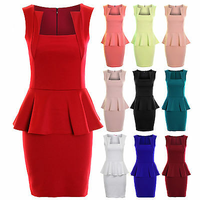 Ladies Square Neck Slim Effect Back Zip Peplum Frill Bodycon Women's Dress 8-14