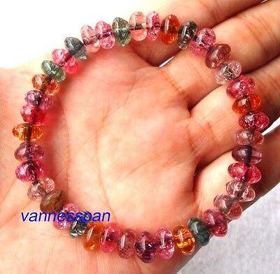 Rainbow Crystal Rondelle Beads Stretch Bracelet 4×8mm