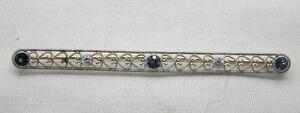 Stunning-Vintage-Platinum-Sapphire-And-Diamond-Set-Bar-Brooch