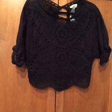 Isabel Marant Etoile SZ XS/S Black Broderie Anglais100% Cotton Short SleeveTop