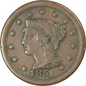1851-Normal-Date-Braided-Hair-Large-Cent-VF-Very-Fine-Copper-Penny-1c-US-Coin