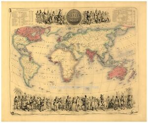 Large A Victorian British Empire Throughout The World Antique - Victorian world map