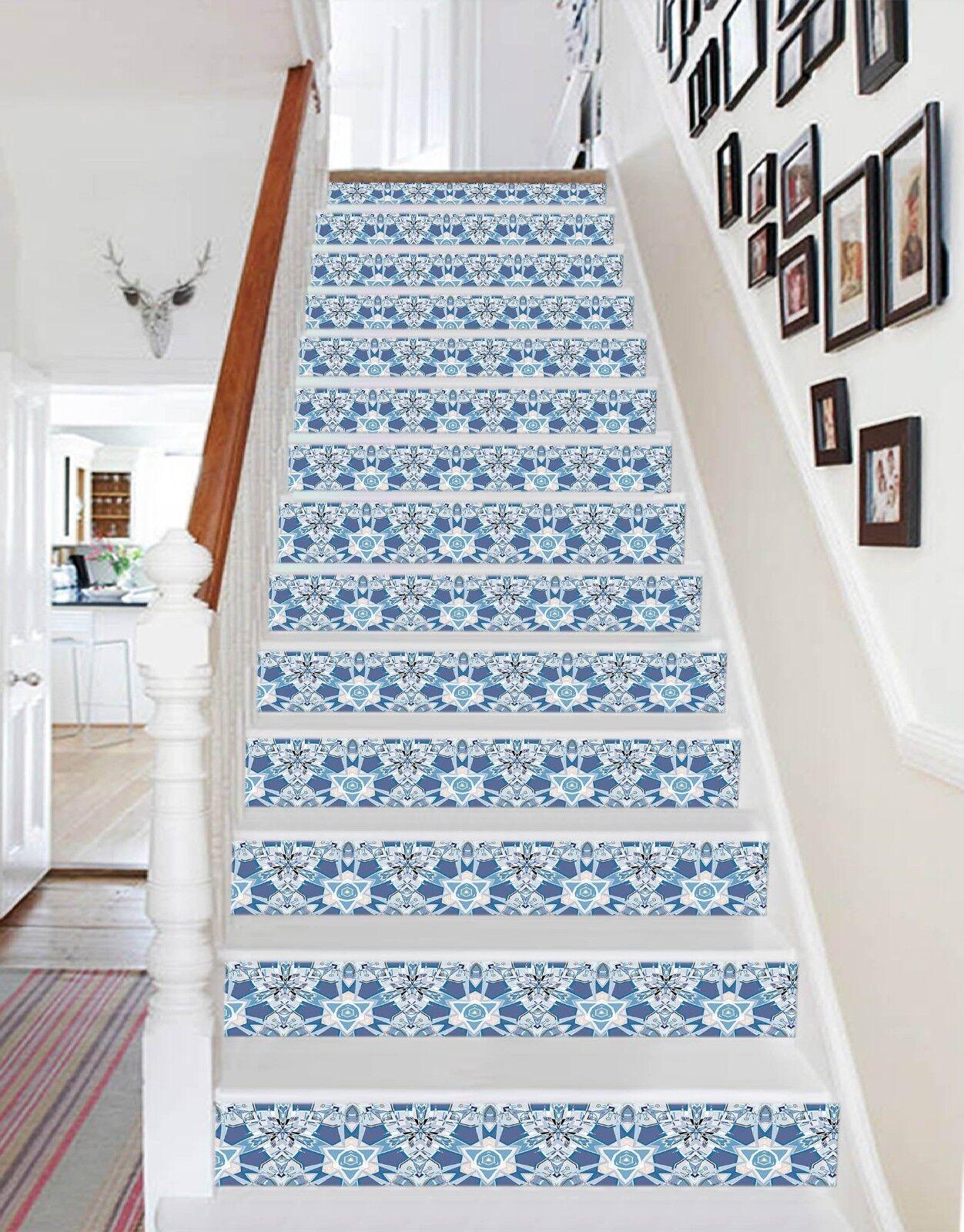 3D Fine Blau Leaves 1 Tile Marble Stair Risers Decoration Mural Vinyl WandPapier