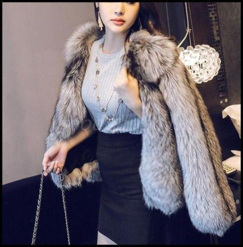 rotondo della di corta Cappotto caldo donne Cappotto di d'argento delle giacca Outwear pelliccia volpe di lusso caldo qw4wCx6