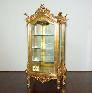 Superieur Image Is Loading Real Gold Leaf Finish Ornate Curio Cabinet Display