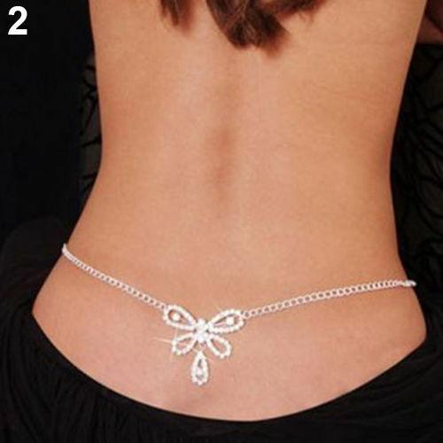 Bikini Rhinestone Harness Lower Back Crossover Belly Waist Body Chain Necklace