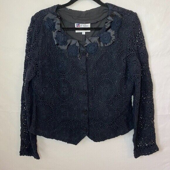 E. Claire Blue Knit Beaded Long Sleeves Button Do… - image 1