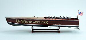 "Gar Wood Miss America X 32"" - Handmade Wooden Model Racing Boat"