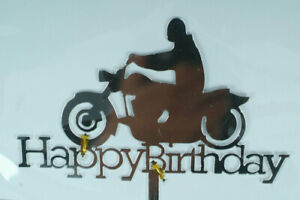 Caketopper-Tortenfigur-Motorrad-Happy-Birthday-Torten-Picker-Geburtstag-Biker