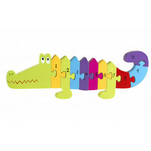Orange Tree Toys Crocodile Wood Number Puzzle 1-10 for Toddlers