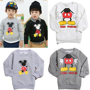 2-8Y-Cartoon-Mickey-Mouse-Minnie-Nina-Sudaderas-Sueter-Camisas-Regalo-De-Navidad