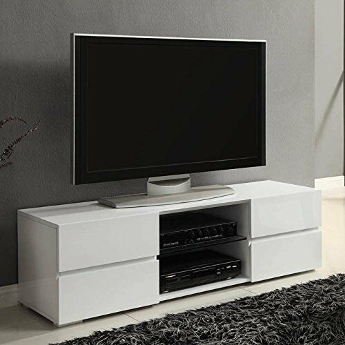 Modern TV Stand Media Entertainment Center Console Cabinet Drawers Gloss  White