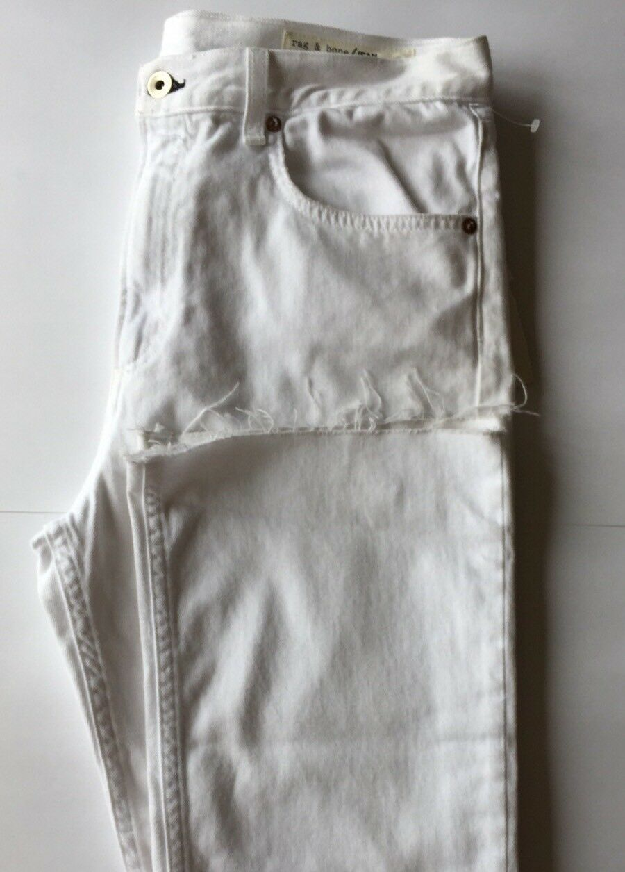 New Rag & Bone Women Jeans Marilyn Crop Flare White 30 Distress Rip High Waist