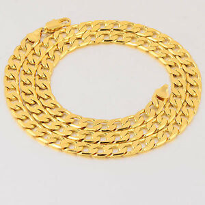 Arab-Fashion-18K-Yellow-Gold-Filled-Mens-Cuban-Link-Chain-Necklace-24-Inches